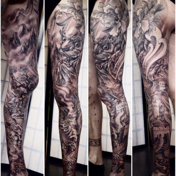 Shanghai-Tattoo-Zhuo-Dan-Tings-tattoo-workfull-leg-sleeve