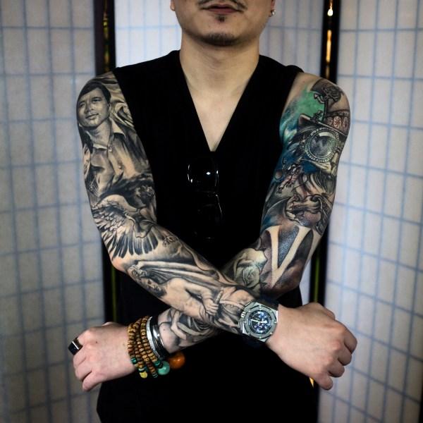 Zhuo-Dan-Ting-Tattoo-work-卓丹婷纹身作品-双花臂酷纹身
