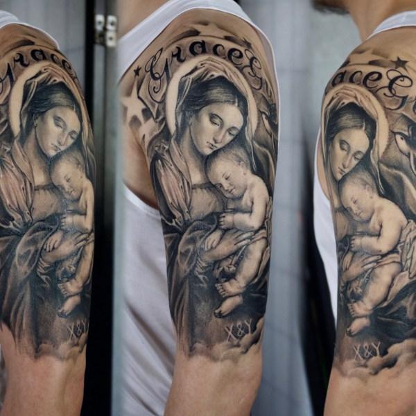 Zhuo-Dan-Ting-Tattoo-work-卓丹婷纹身作品-圣母玛丽亚纹身