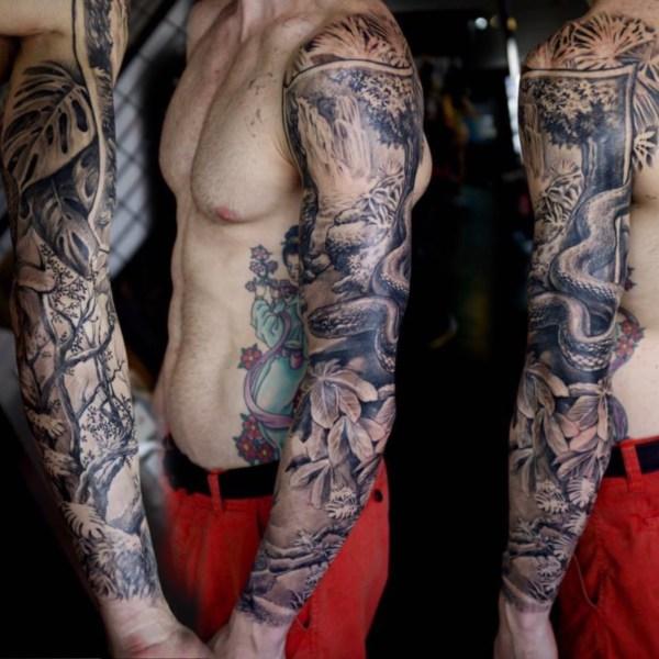 Zhuo-Dan-Ting-Tattoo-work-卓丹婷纹身作品-花臂丛林设计纹身