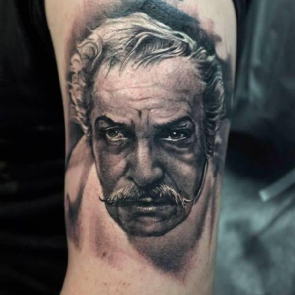Zhuo-Dan-Ting-Tattoo-work-卓丹婷纹身作品-黑灰人头像纹身