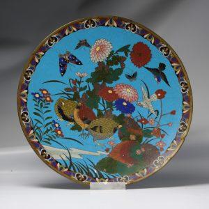 Lovely 19th c Antique Meiji Period Japanese Serving dish Three quails Cloisonne