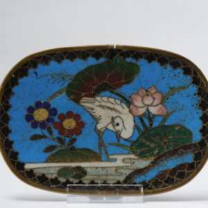 Lovely 19c Antique Meiji Period Japanese Small tray Bronze Cloisonne
