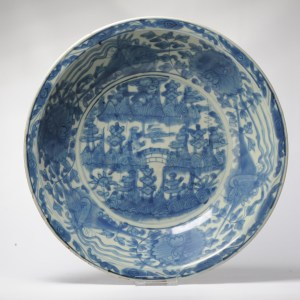 Antique Chinese Zhangzhou Swatow Landscape Pagode Charger – China – Ming Dynasty (1368-1644)