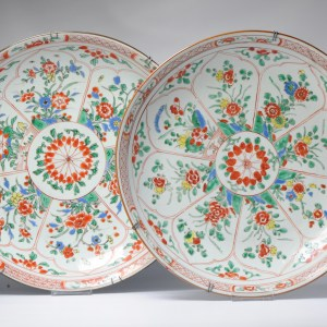 PAIR Antique 38CM Kangxi Chinese Porcelain Charger Verte Wucai Flowers