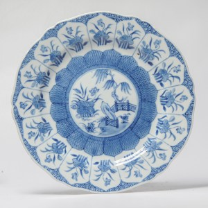 Antique Top Chinese 18C Blue and white Soft paste Qianlong Period Dish Lotus