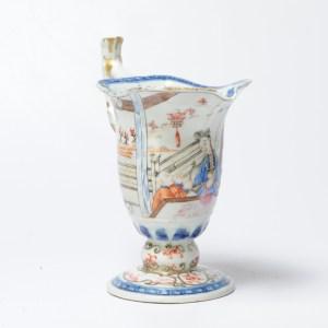 Antique 18C Chinese Porcelain Cream Jug China Mandarin Rose Qianlong Period