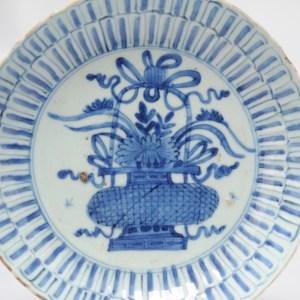 Antique Chinese 16/17C Chinese Porcelain Ming Transitional Kraak Plate FLOWER BASKET