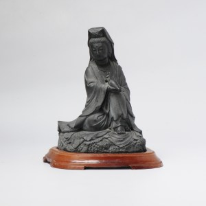 Nicely Carved Japanese Statue of a sitting Guanyin Meiji or later Marked