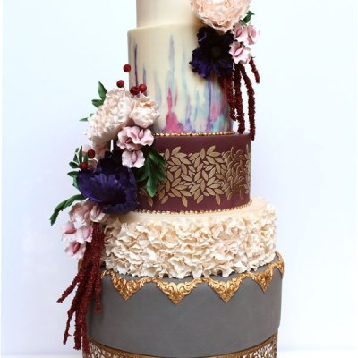 Fall Flowers Wedding cake - by Shani's Sweet Art