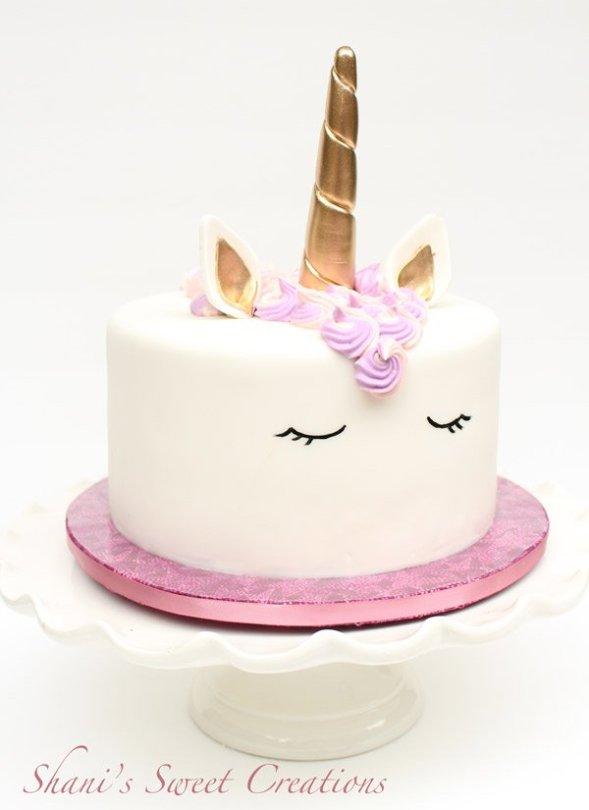 Shani's Sweet Art - pink unicorn cake with gold horn