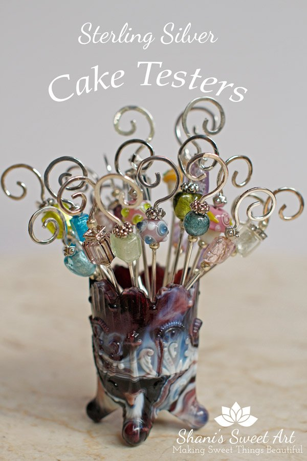 Cake Bling!  Fancy cake testers are the perfect gift for bakers and cake decorators. Hand made with sterling silver and glass beads.