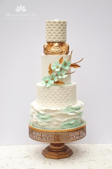 ocean inspired wedding cake tutorial