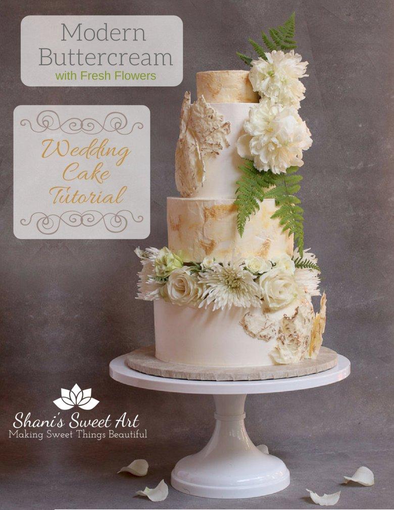Learn how to make an elegant, modern styled buttercream wedding cake with fresh flowers. #cakedecorating #weddingcake #modernwedding #caketutorial