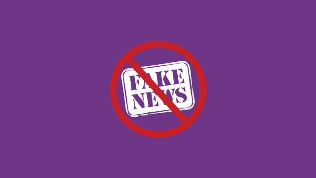 Combatting Fake News Purple Banner