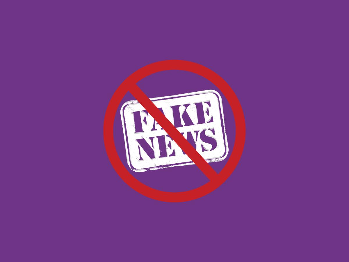 Combatting Fake News Purple Banner