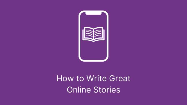 Writing Online Stories Purple Banner