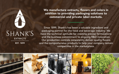 Shank's Extacts, your valuable ingredient and packaging partner for the food and beverage industry