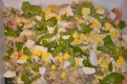 Sprinkle with parsley and chopped egg!