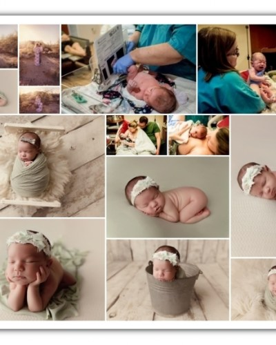 maternity, birth, and newborn girl session; cream and sage colors