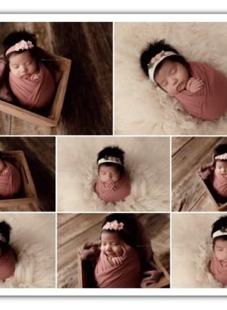 newborn girl session; cream and mauve colors
