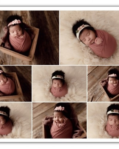 newborn girl session; cream and mauve colors
