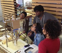 This group is evaluating the design of a structure based on the form of a tree.