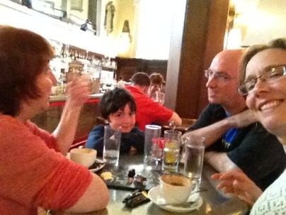 Nancy and I enjoyed a post-tour lunch at The Church restaurant. And soon our friends Mairtin and Thomas d'Alton came along to join us. Nadia was busy working, so the boys had to amuse themselves.