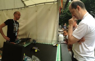 My colleagues and I set up a booth to show off the RoboSlam robots.