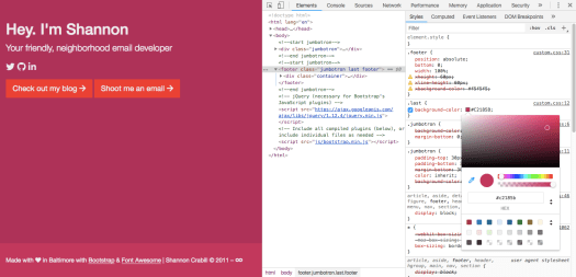 Example of using Chrome DevTools to change a hex value