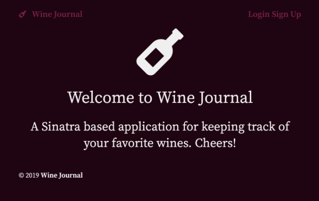 Screeshot of Wine Journal homepage
