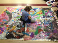 Avery focused on completing one of our pastel murals.