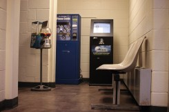 The Isabella County Jail waiting area before the inmates get released to go to work at 7:30 a.m. on Monday morning.