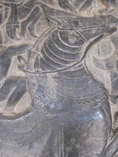 Bas Relief Carving of a Horse at the Angkor Temples