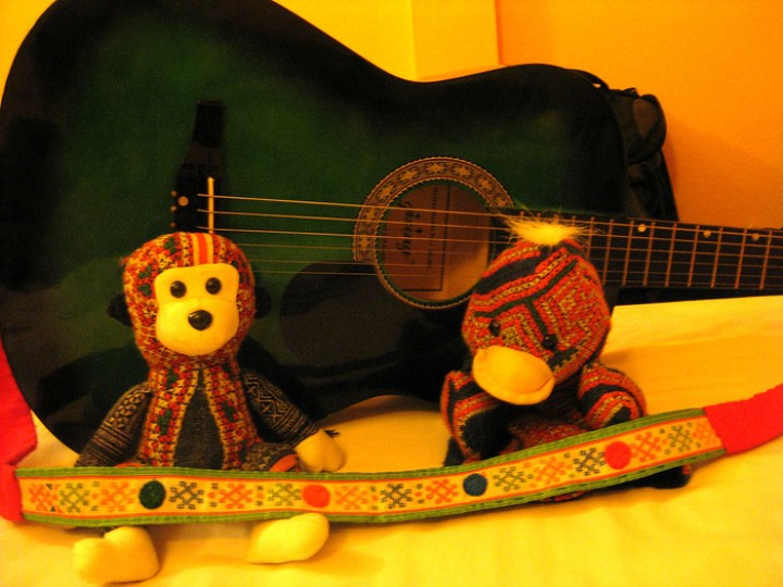 guitar and stuffed animals we bought