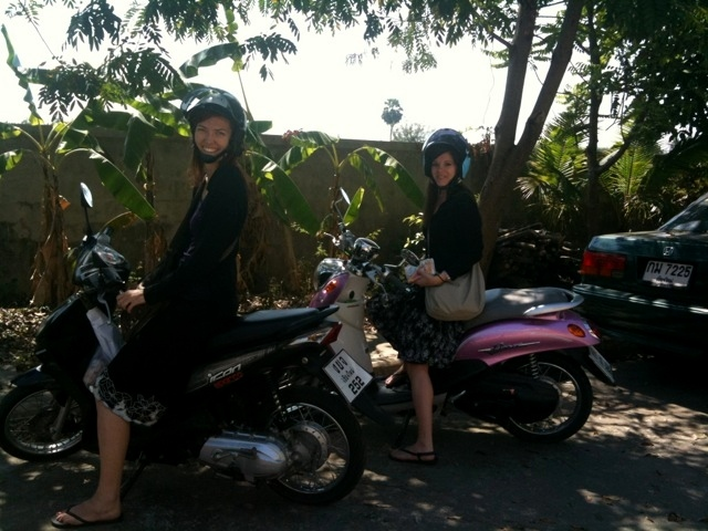 Motorbiking with my roomie around town is the norm in Chiang Mai, Thailand