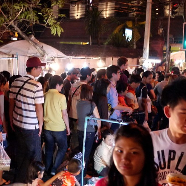 Very full and busy Sunday Night Market in Chiang Mai, Thailand!