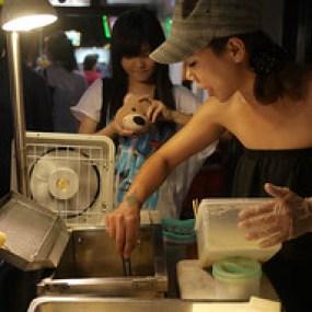 Fried milk balls at the Shinlin Night Market in Taipei, Taiwan.