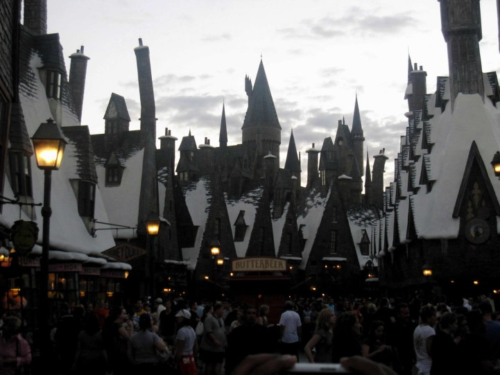Hogsmeade lit up at night at the Wizarding World of Harry Potter, Universal Studios Orlando