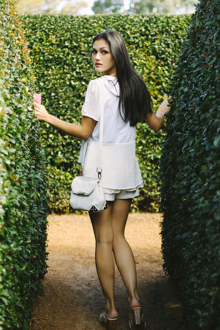 All white outfit. White peplum tee & lace skort. Alexander Wang Marion in eggshell.