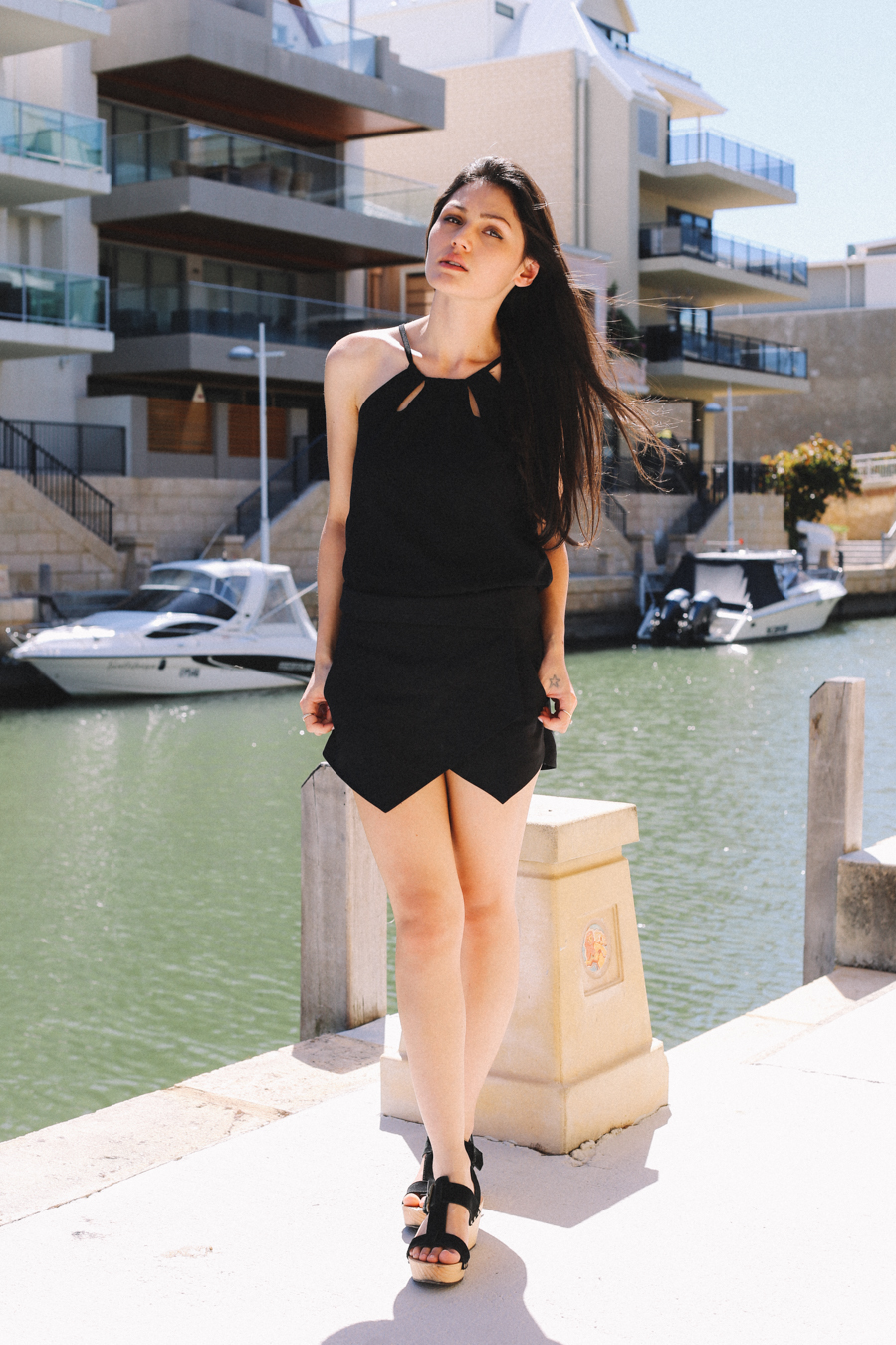 All black outfit. Zara skort.