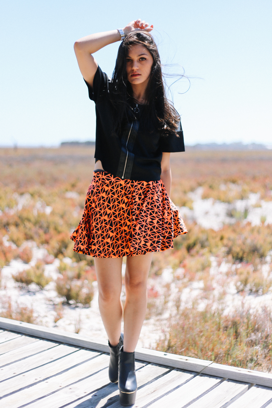 Seams Theory geometric skirt. August Street top. Missguided platform ankle boots.
