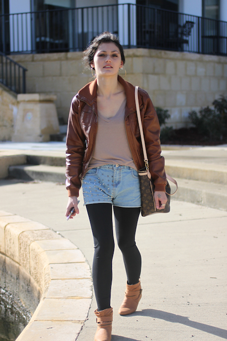 Brown leather look jacket & studded denim shorts outfit.