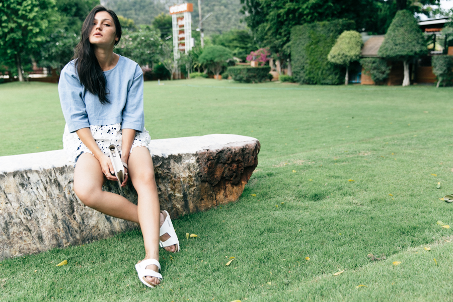 Chambray top outfit by Thai fashion blogger Shannon Valle.