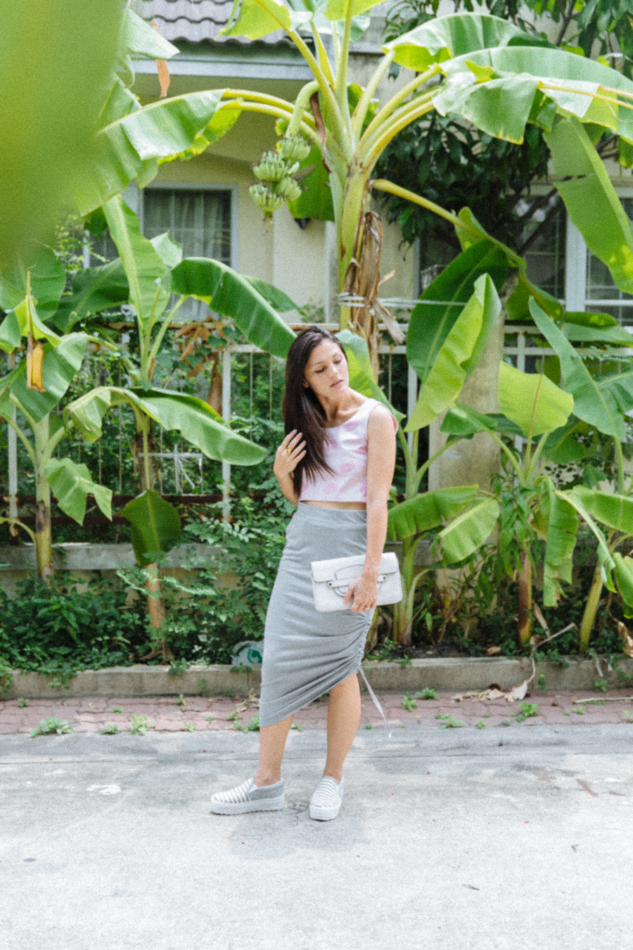 Pink & grey outfit. Grey draped skirt by POL clothing & donut top buy Sugary Brand Thailand.