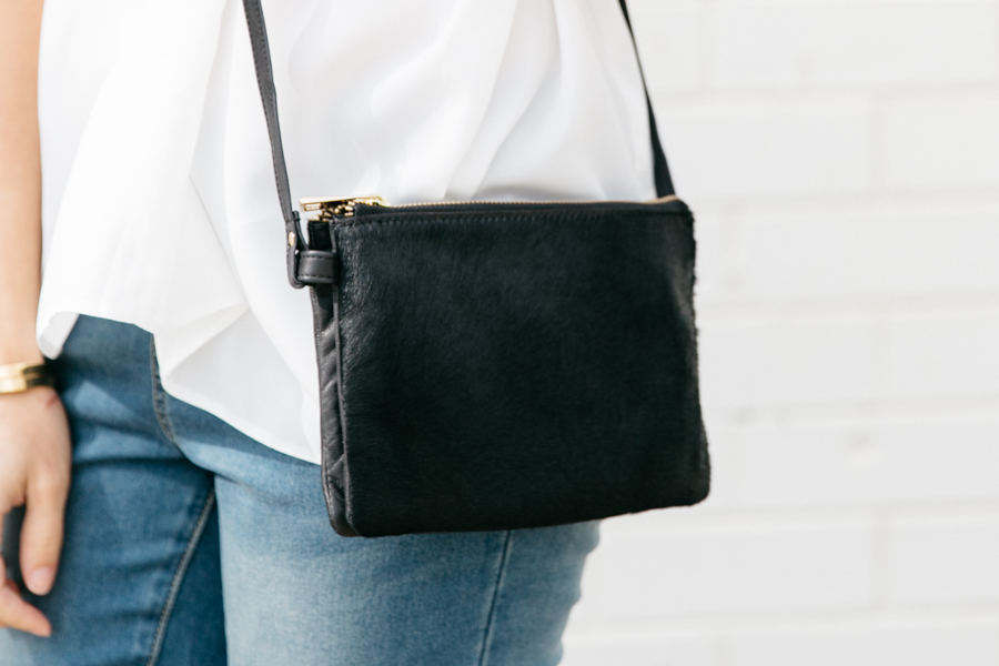 ASOS leather & pony hair bag.