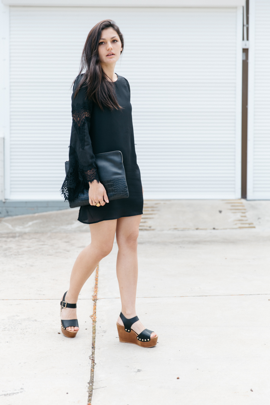 Wedge clog sandals with black mini dress. Boho outfit.