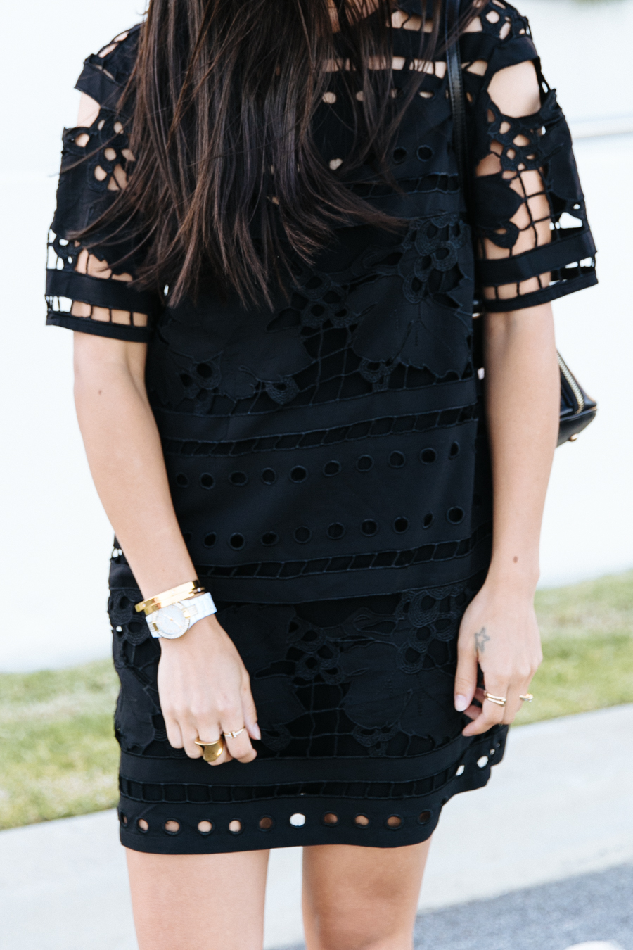 Lasers cut black lace dress from Alice McCall.