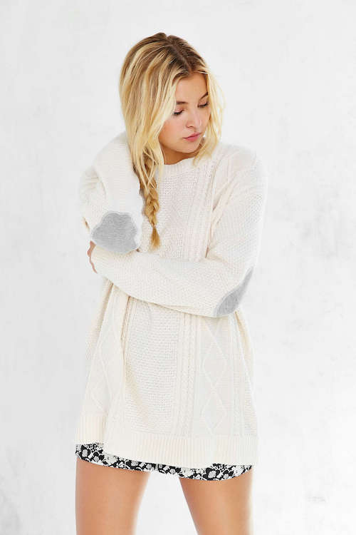 Grey elbow patch white jumper.