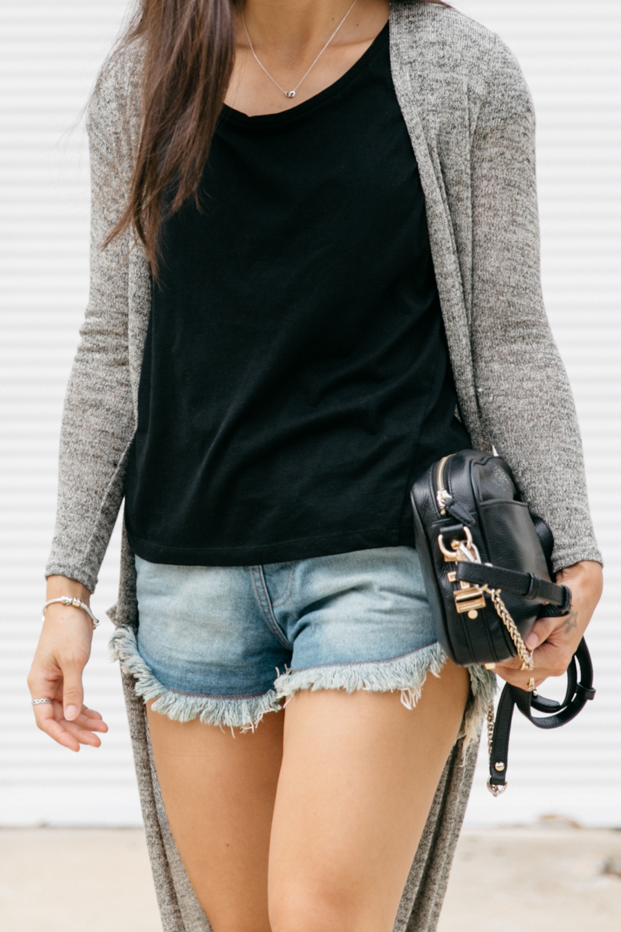 Cardigan with denim shorts. Australian fashion blogger.